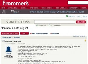 Screenshot of Frommer's forum question about Montana travel