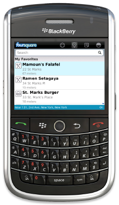 Foursquare on a BlackBerry (courtesy Foursquare)