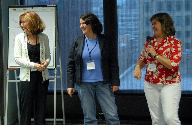 Leslie McLellan, Becky McCray and Sheila Scarborough draw a laugh from the audience.