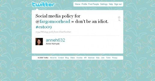 The Fargo-Moorhead CVB social media policy circa 2009 (an Anne Hornyak tweet screenshot)