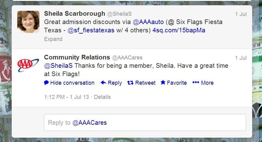screenshot of good aaa customer service response on twitter re six flags tickets