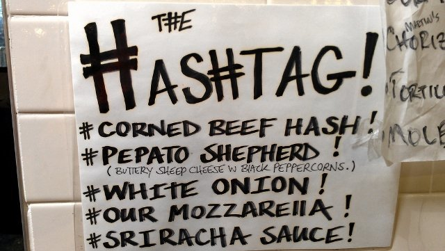 Hashtag sandwich ingredients combine online and offline communications at MeltKraft Artisanal Grilled Cheese in Reading Market, Philadelphia PA (photo by Sheila Scarborough)