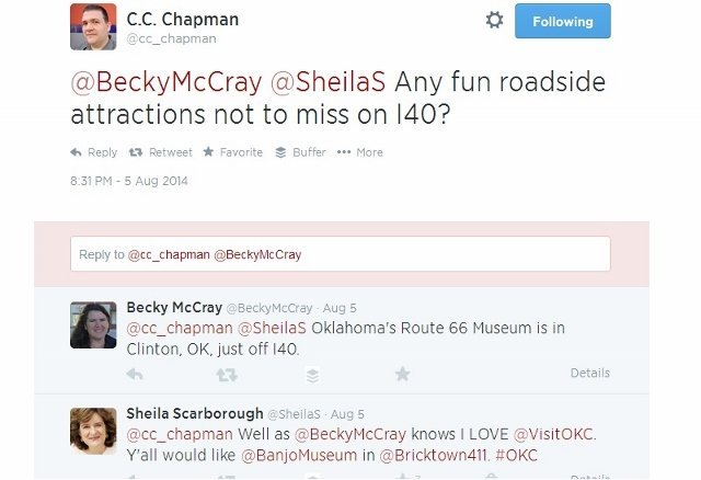 Twitter screenshot CC Chapman asks 140 travel advice for road trip