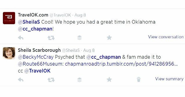Twitter screenshot CC Chapman stops at Route 66 museum Oklahoma