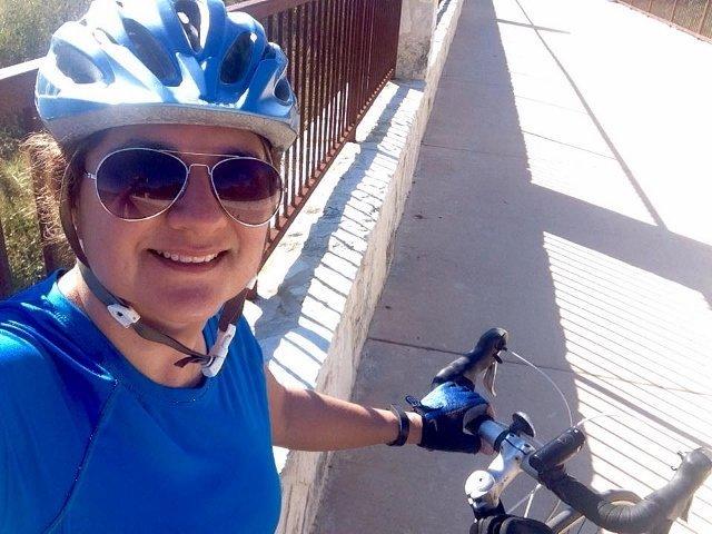Jennifer Navarrete bikes the San Antonio Mission Reach (photo courtesy Jennifer on Facebook)