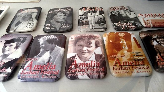 Amelia Earhart Festival badges on display at her birthplace museum in Atchison Kansas (photo by Sheila Scarborough)