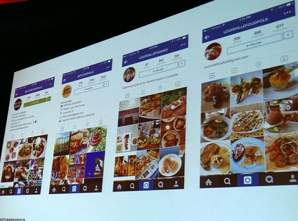 Local foodies on Instagram in Louisville Kentucky via Gathan Borden at TTIA Tourism College 2015