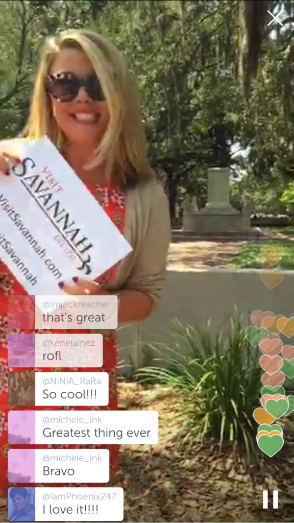Visit Savannah does a live tour on Periscope