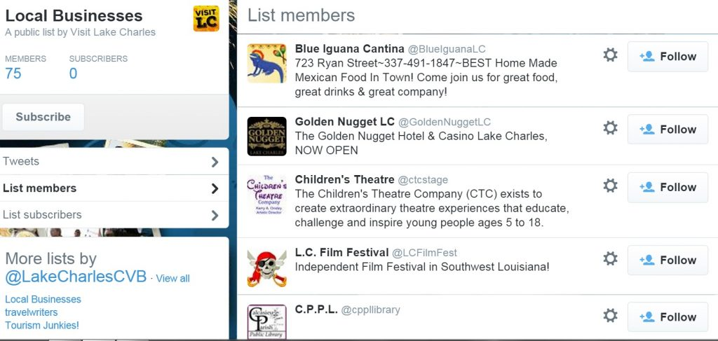Lake Charles and Southwest Louisiana CVB local businesses Twitter List, a good idea for Main Street marketing
