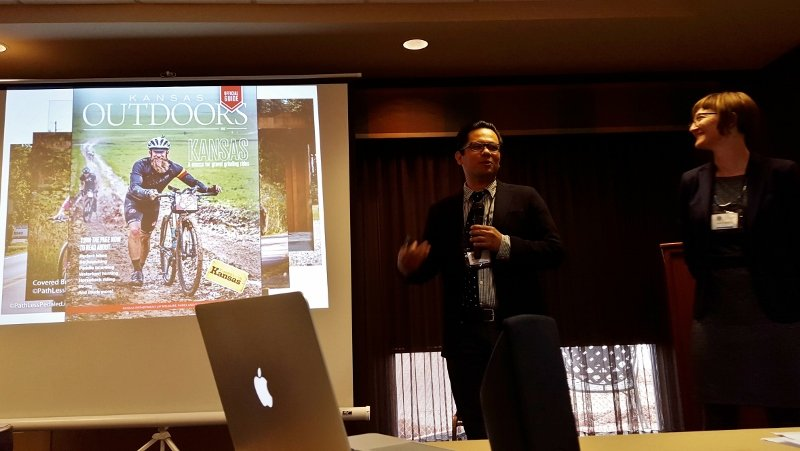 Russ and Laura from The Path Less Pedaled speakers on bike tourism, which is a good move for Main Street marketing, at the Heartland Byways Conference 2016 in Iowa (photo by Sheila Scarborough)