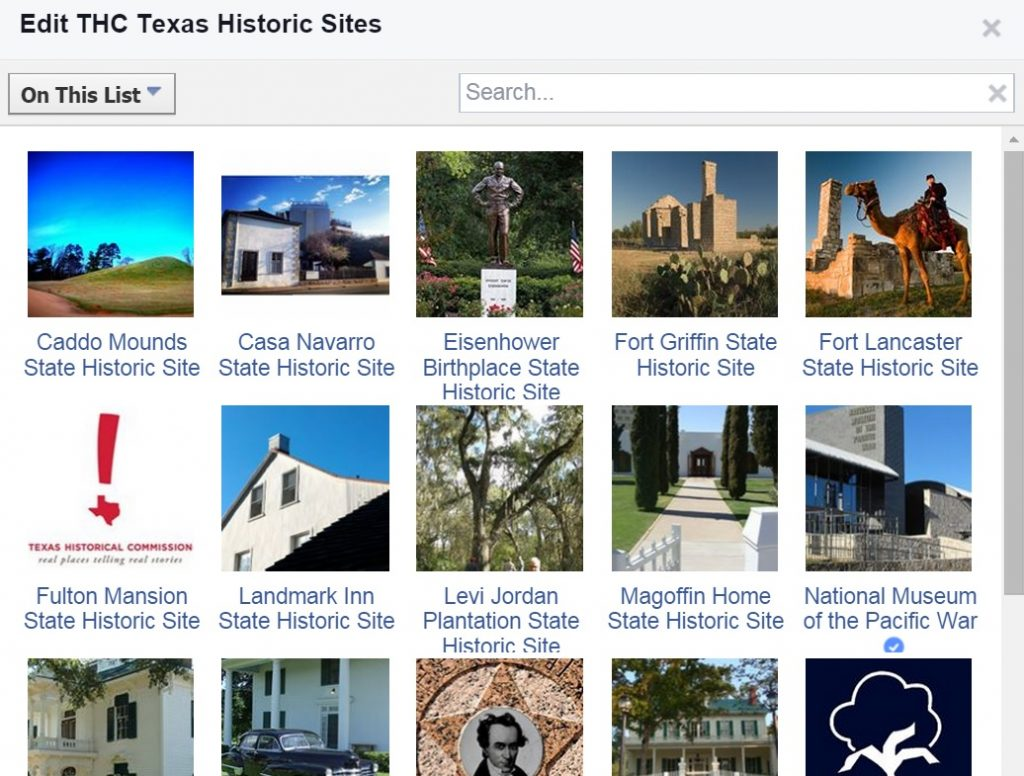 Screenshot of THC Texas historic sites Facebook personal Interests list, a good idea for Main Street marketing