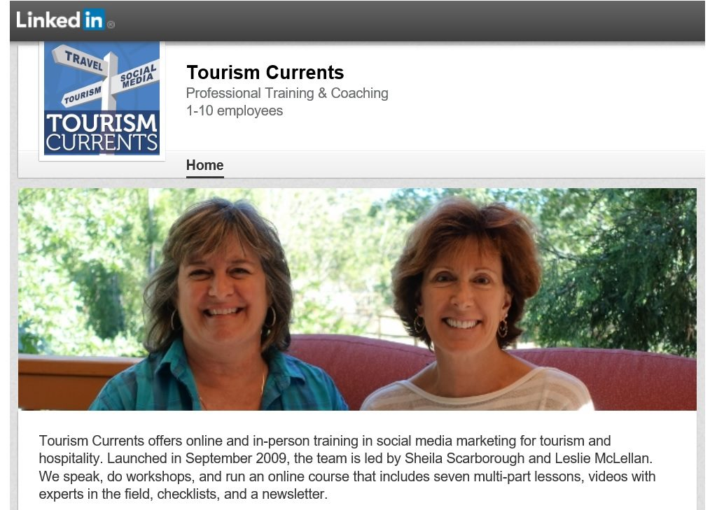 Screenshot of the Tourism Currents Company Page on LinkedIn