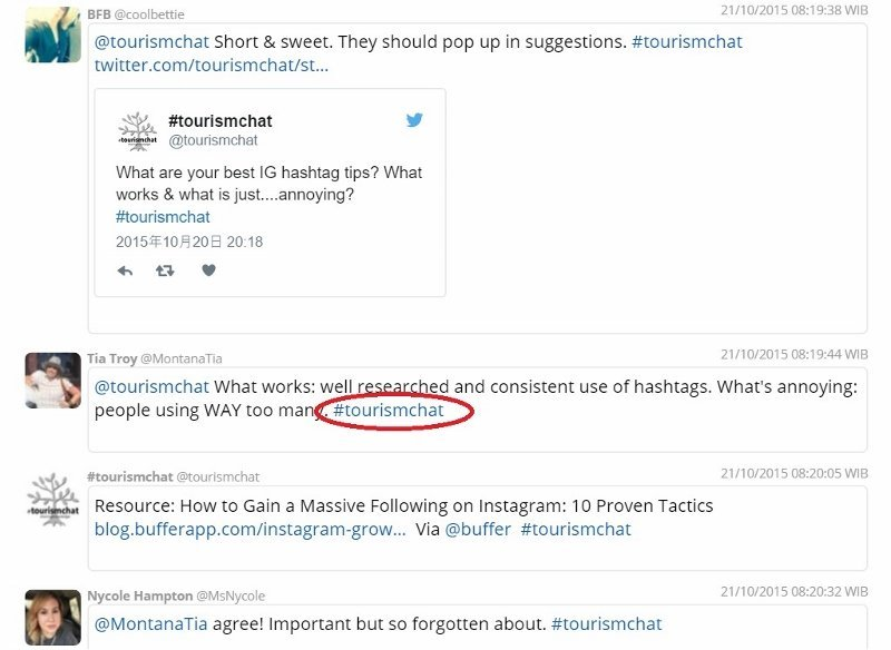 Screenshot of transcript from chat about Instagram from #tourismchat one of many travel and tourism Twitter chats