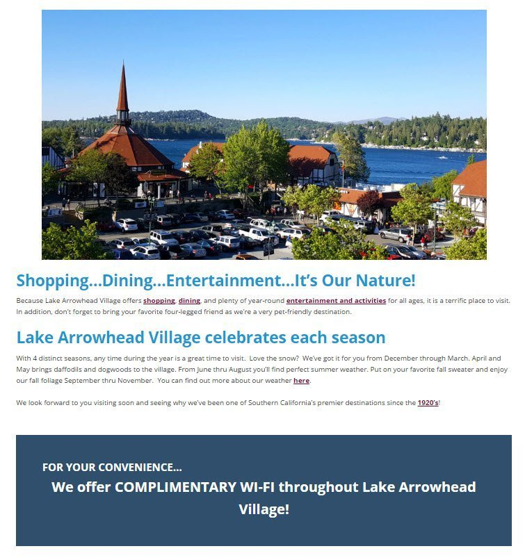 Lake Arrowhead Village micro moments can be shared via WiFi