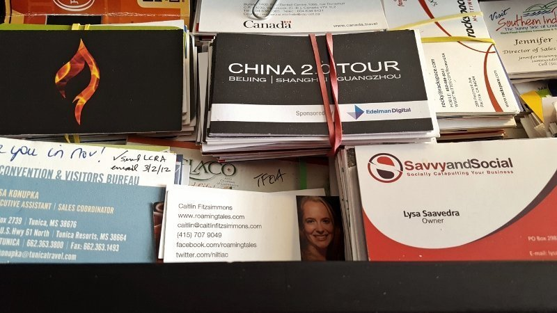 Finish strong at the end of the year - start with a review and purge of business card piles (photo by Sheila Scarborough)