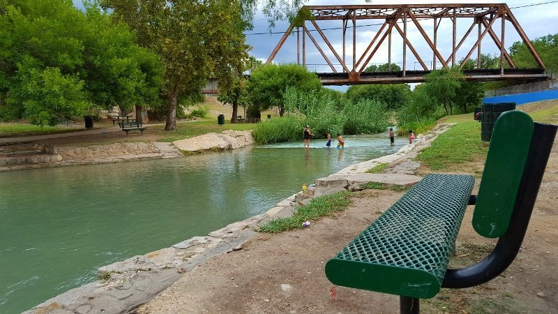 Swimming and relaxing in San Felipe Springs, Moore Park near downtown Del Rio, TX (photo by Sheila Scarborough)
