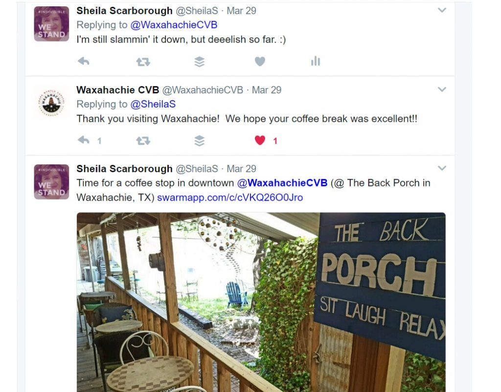 Example of Twitter for tourism and destination marketing always interact with visitors like Waxahachie Texas CVB