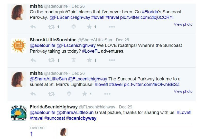 Twitter for tourism and destination marketing example in Florida includes scenic byway