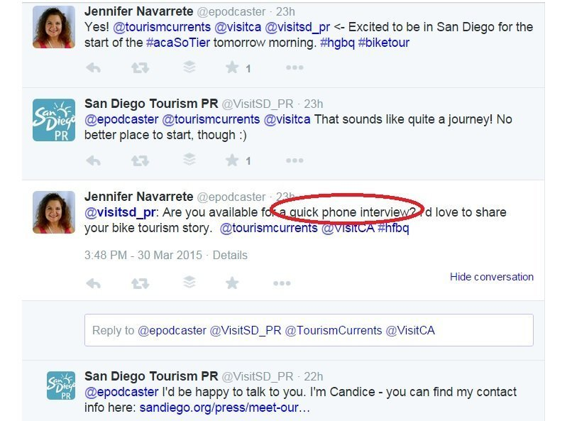 Twitter for tourism and destination marketing PR example San Diego CA and cyclist Jennifer Navarrete