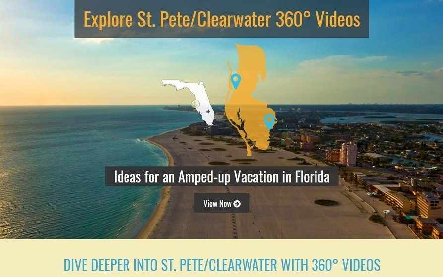 Screenshot of Visit St Pete Clearwater Florida 360 video page on website
