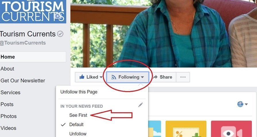Screenshot Tourism Currents Facebook Page See First option for followers