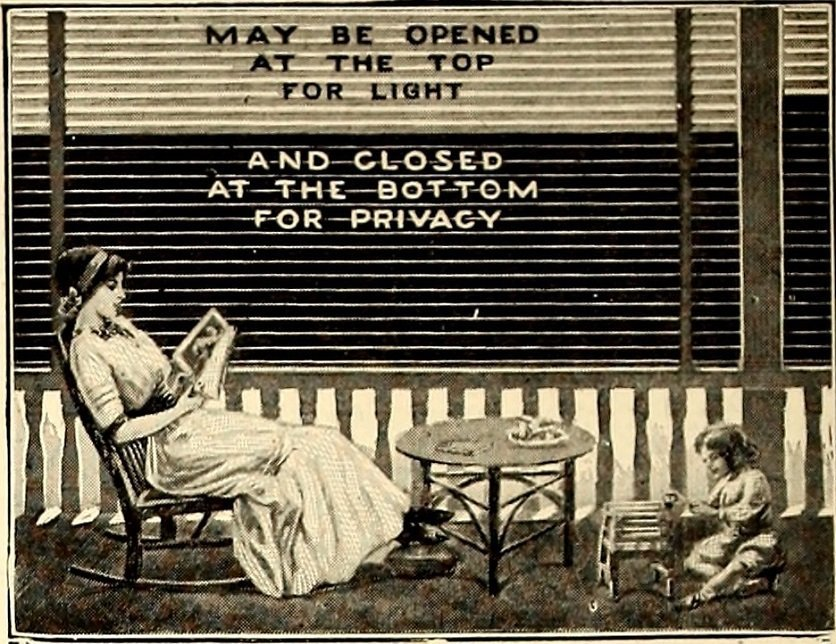 Privacy policy for Tourism Currents, adjustable blinds for privacy, 1905, American homes and gardens book (courtesy Flickr Commons)