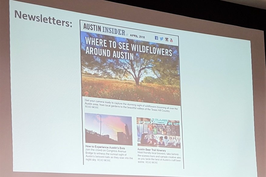 Visit Austin email newsletter highlights Austin Insider blog posts TACVB Marketing Symposium 2018