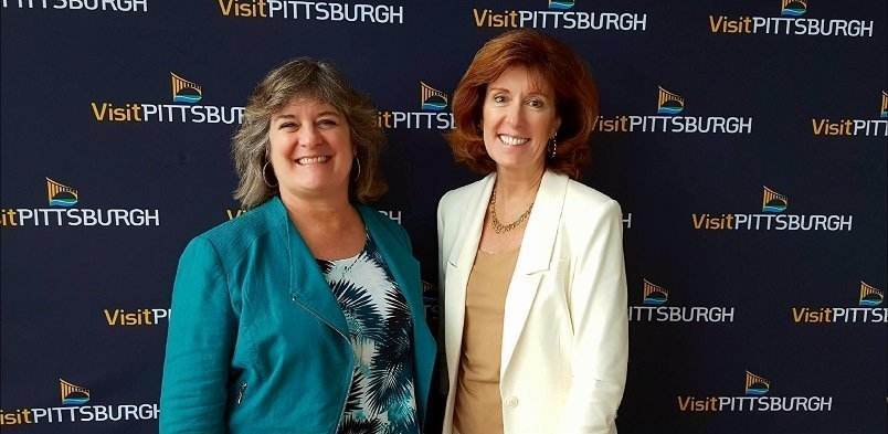 Sheila Scarborough Leslie McLellan with Tourism Currents social media speaker at Be Digital Pittsburgh