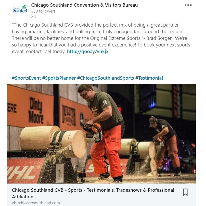 LinkedIn Page for tourism post example from Chicago Southland CVB