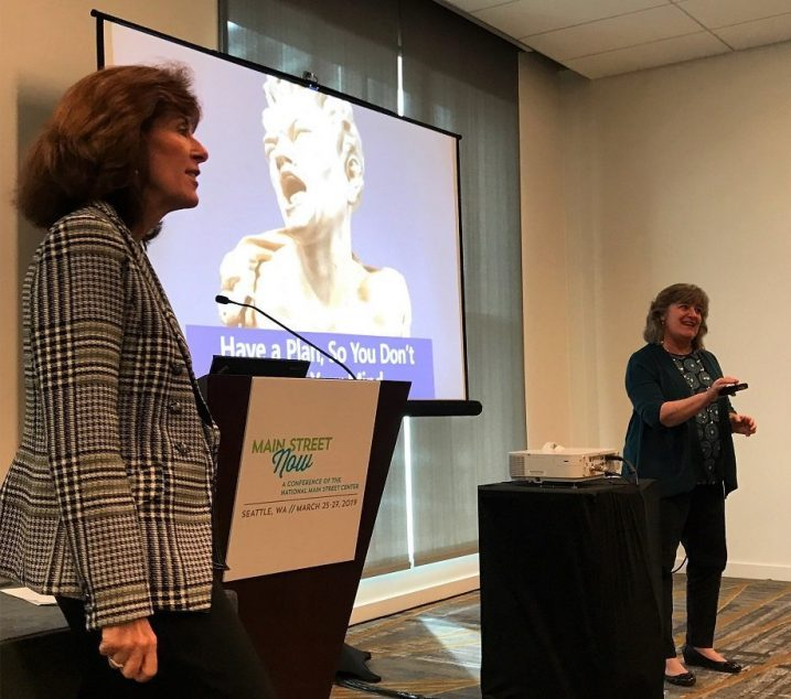 Leslie McLellan and Sheila Scarborough Tourism Currents speaking on social media at 2019 National Main Street conference (courtesy Becky McCray)