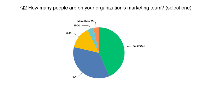Pie chart Q2 Survey on Social Media in Tourism Marketing 2019 how many on tourism marketing team