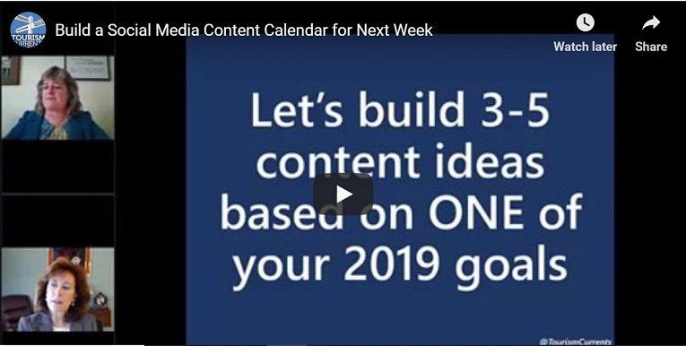 Screenshot Tourism Currents webinar recording content calendar for next week
