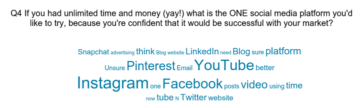 Word cloud Q4 social media marketing what would you try with unlimited money and time