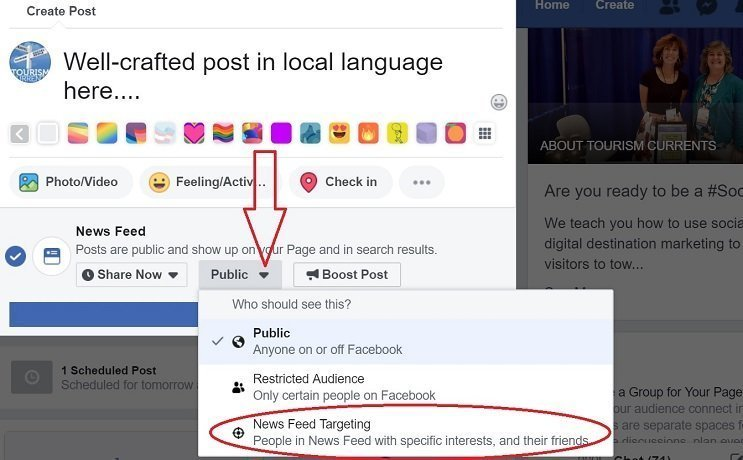 Screenshot of how to target an organic Facebook Page post especially geographically
