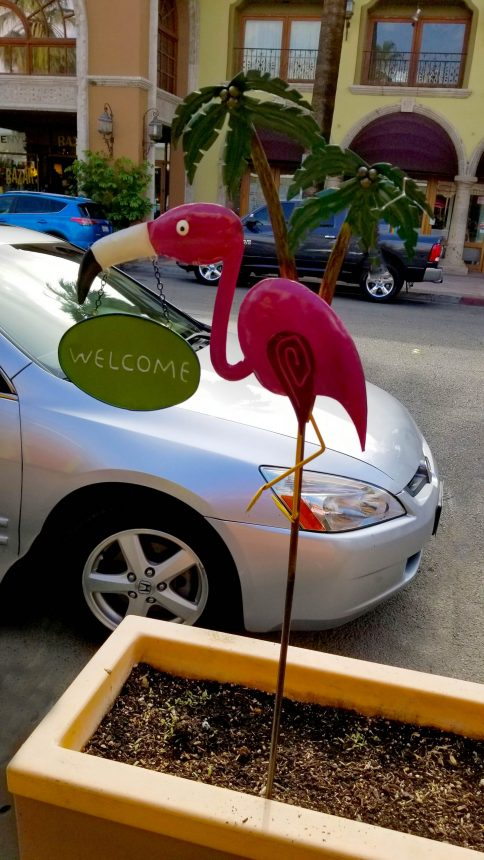 Branding small independent hotels means creating a welcoming experience like this Welcome Flamingo (photo courtesy Leslie McLellan)