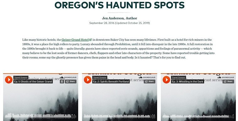 Screenshot of Travel Oregon podcast miniseries Haunted Oregon embedded in website page