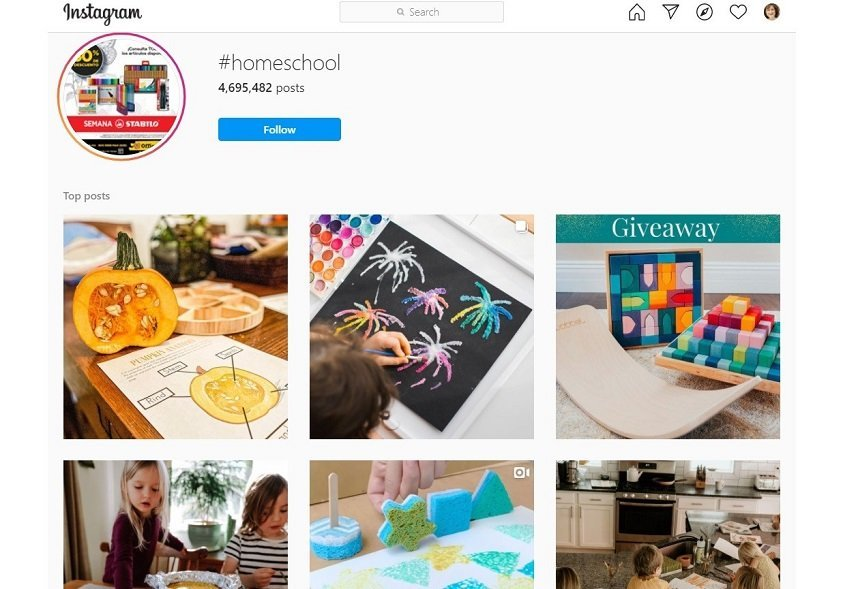 Screenshot of Instagram posts with the hashtag #homeschool