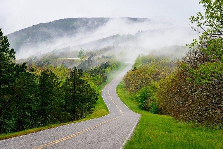 Talimena Scenic Drive that runs through Oklahoma and Arkansas