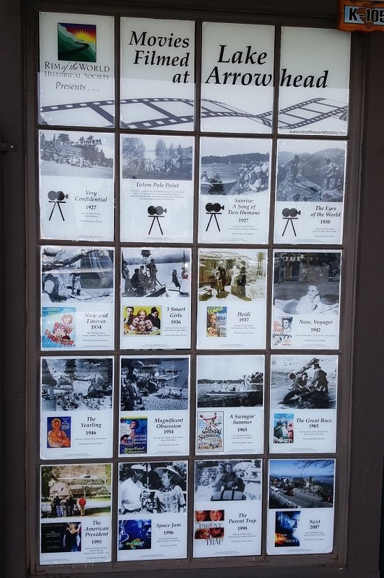 Film-friendly destination display info board about movies filmed in Lake Arrowhead CA courtesy Leslie McLellan Tourism Currents