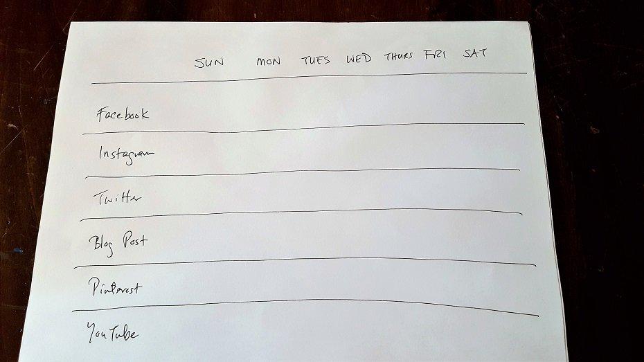 Handwritten social media content planning calendar for one week