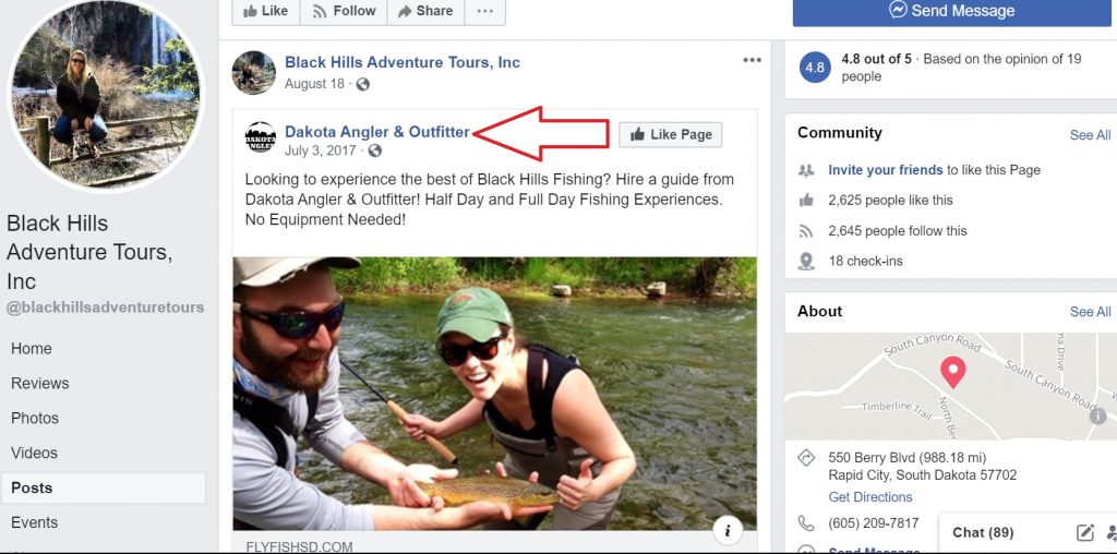 Adventure tour operator cross-promotes fishing guide partner on Facebook