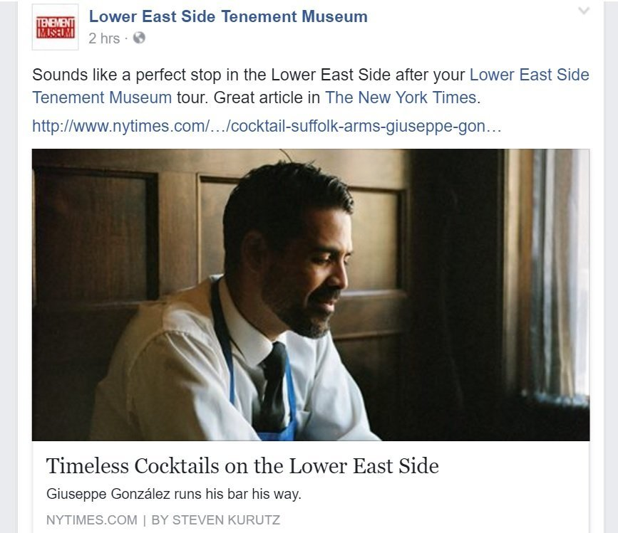 Cross-promotion matters in tourism marketing example on Facebook Tenement Museum and a Lower East Side bar