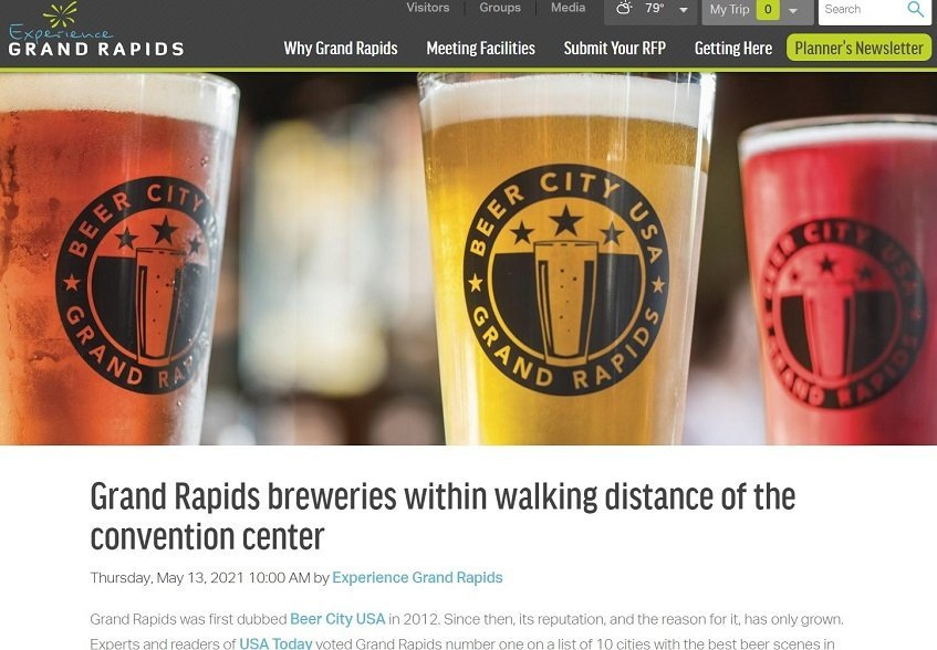 Screenshot Grand Rapids Meeting Minds blog post about breweries in conference center walking distance