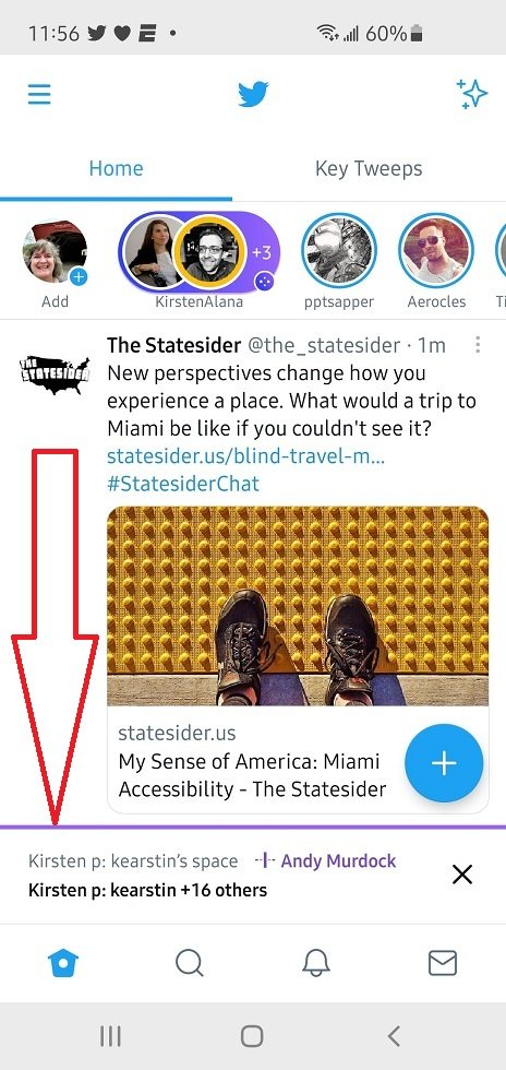 Screenshot Twitter Spaces on Android conversation minimized